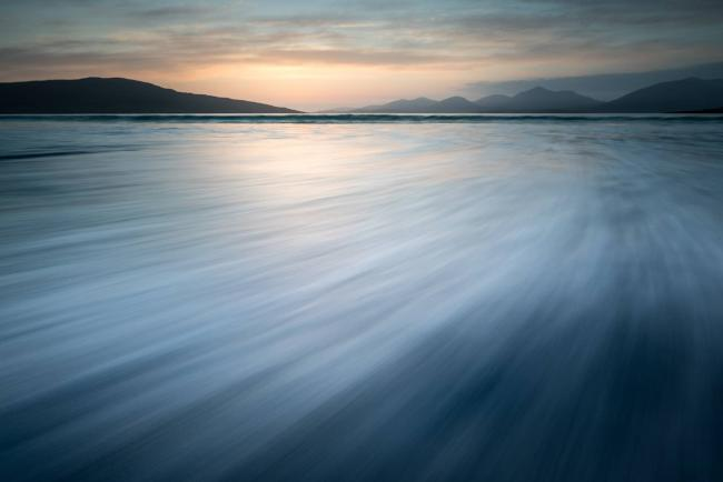 After sunset at Luskentyre Beach on the Isle of Harris