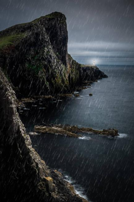 Stormy weather over Neist Point Lighthouse, Isle of Skye