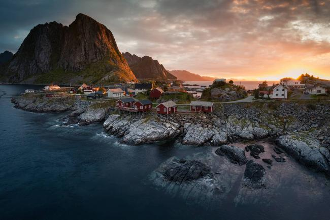 Sunrise over Hamnøy fishing village on Norway's Lofoten Islands