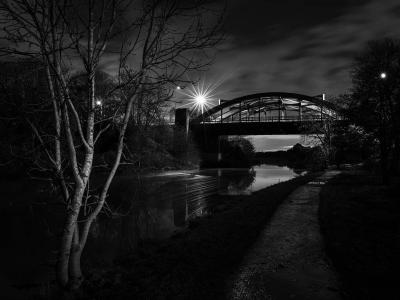 The Blue Bridge in Northwich at night