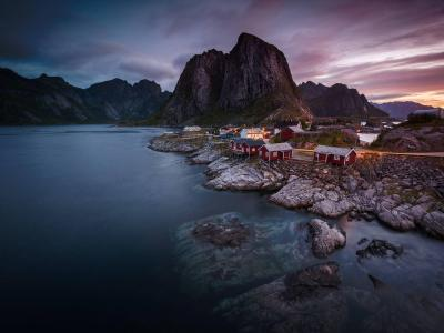 Dawn rises over Hamnoy Fishing Village, Norway