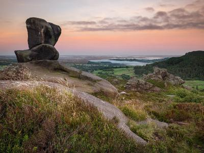 Dawn rises over Merrbrook and Leek, viewed from Ramshaw Rocks