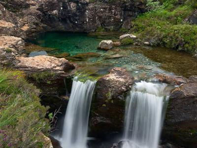 A waterfall at the Fairy Pools on the Isle of Skye
