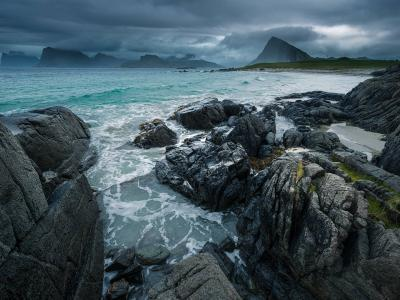 Norwegian weather rolls in over Storsandes Beach on the Lofoten Islands