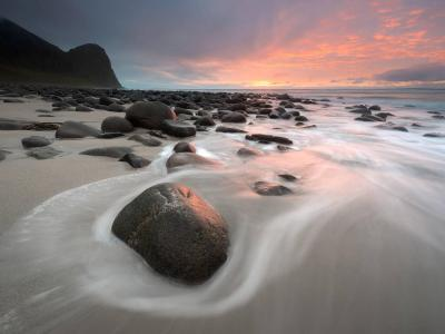 Sunset over Uttakleiv Beach, Norway