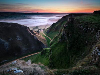 Morning mist over Hope Valley from Winnats Pass, Peak District